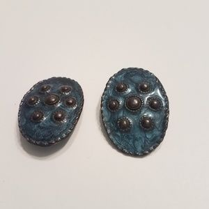 Jewelry - Large Oval Clip on Earrings Blue with Gray Circles